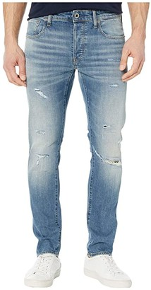 G Star G-Star 3301 Slim Jeans in Worn in Ripped Blue Faded (Worn in Ripped Blue Faded) Men's Jeans