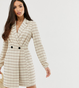 Glamorous Tall wrap dress in check-Brown
