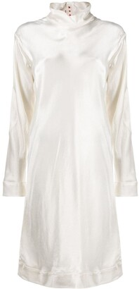 Marni Silk Shift Dress With High Neck
