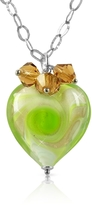 Murano House of Vortice - Lime Glass Swirling Heart Sterling Silver Necklace