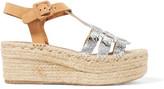 Paloma Barceló Honoria Metallic Textured-Leather Espadrille Wedge Sandals