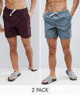 Asos Swim Shorts In Grey & Purple Mid Length 2 Pack Save