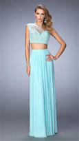 La Femme 22110 Sheered and Laced Two-Piece Evening Gown