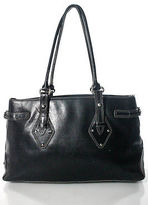 Cole Haan Black Leather Stitch Detail Double Handle Large Tote Handbag