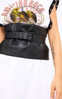 PrettyLittleThing Black PU Wrap Buckle Corset Belt