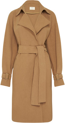 ST. AGNI Sumi Belted Oversized Cotton-Linen Trench Coat