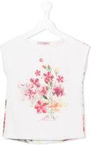 Miss Blumarine floral print T-shirt - kids - Silk/Cotton/Polyester - 6 yrs