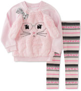 Kids Headquarters 2-Pc. Faux Fur Cat Tunic and Printed Leggings Set, Toddler Girls (2T-5T)