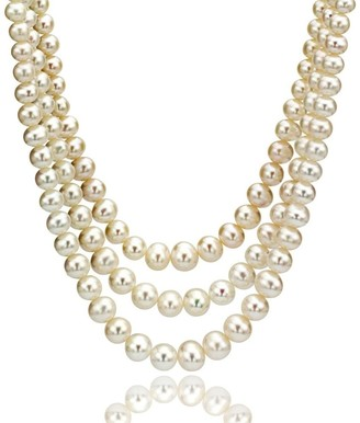 DaVonna 8-9mm Deep White Freshwater Pearl Endless Necklace 64-inch