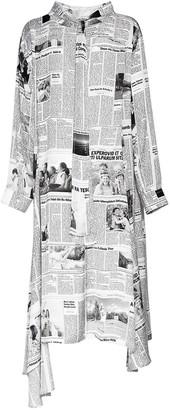 Balenciaga Newspaper Print Light Satin Dress
