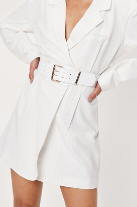 Nasty Gal Womens Croc Faux Leather Chunky Buckle Belt - White