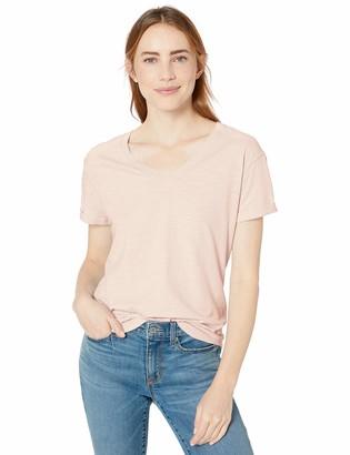 Goodthreads Vintage Cotton Roll-Sleeve V-Neck T-Shirt Pale Grey Heather S