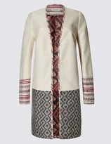 Marks and Spencer Jacquard Print Open Front Coat