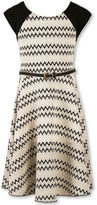 Speechless Sleeveless Chevron Textured Knit Skater Dress - Girls Plus