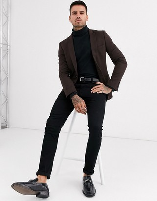 ASOS DESIGN super skinny blazer with wool mix in brown