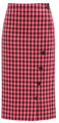 Balenciaga Gingham-check Twill Pencil Skirt - Black Pink