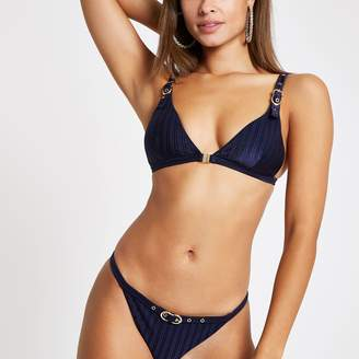 River Island Womens Navy buckle trim triangle bikini top