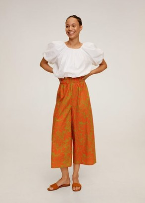 MANGO Tropical print pants orange - S - Women