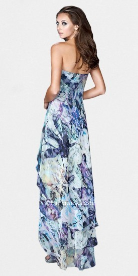 La Femme Watercolor Print High Low Prom Dresses