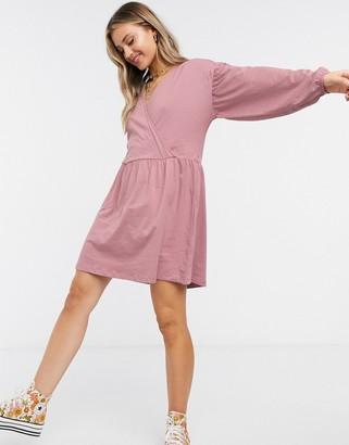 ASOS DESIGN wrap front long sleeve smock dress in dusty purple