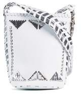 Roberto Cavalli Women's White Leather Silver Accent Shoulder Bucket Bag.