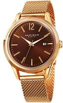 Akribos XXIV Men's Quartz Gold-Tone Case with Gold-Tone Accented Brown Sunray Dial on Gold-Tone Mesh Stainless Steel Bracelet Watch AK920YGBR