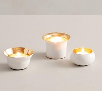 Pottery Barn Helen Tea Light Candle Holders, White - Set of 3