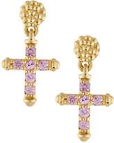 Lagos 18k Covet Pavé Pink Sapphire Cross Drop Earrings