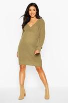 boohoo Maternity V Neck Sweater Dress