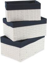 Redmon 3-Piece Basket Storage Set in White/Navy