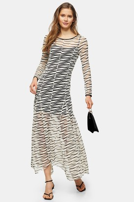 Topshop Womens Ecru Airtex Mesh Midi Dress - Ecru