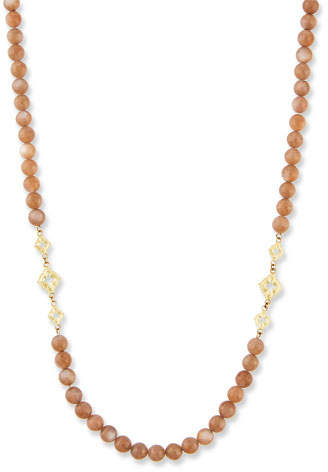 """Armenta Old World Long Beaded Moonstone Scroll Necklace, 36""""L"""