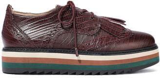 Zimmermann Fringed Lizard-effect Leather Platform Brogues