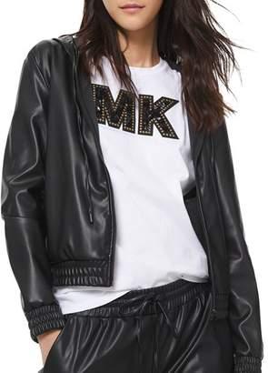MICHAEL Michael Kors Faux-Leather Zip Hoodie