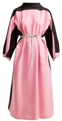 Marni Bi-colour Belted Cotton-blend Dress - Womens - Pink Multi