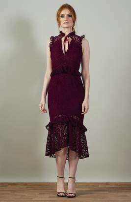 Hope & Ivy - Velvet Lace Midi Dress With Collar - 8