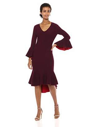 Milly Women's Contrast Knit V-Neck Draped Long Sleeve Mermaid Hem Dress
