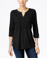 Style&Co. Style & Co. Crochet-Detail Top, Only at Macy's