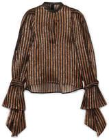 Petar Petrov Ethel Leather-trimmed Striped Silk-blend Lamé Blouse - Black