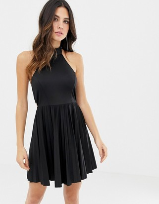 Asos Design DESIGN scuba halter bow back pleated mini dress-Black