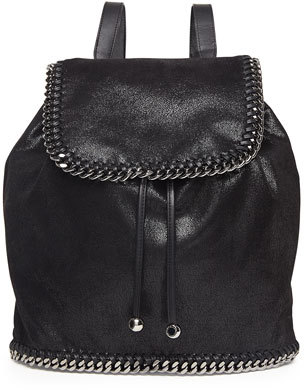 Stella McCartney Falabella Shaggy Deer Backpack, Black/Silver