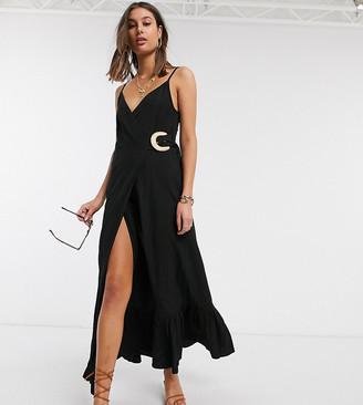 Asos Tall ASOS DESIGN Tall cami wrap maxi dress in linen with wicker belt
