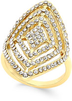 INC International Concepts Gold-Tone Geometric Crystal Statement Ring, Only at Macy's