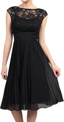 Jolie Moi Lace Bodice Pleated Dress