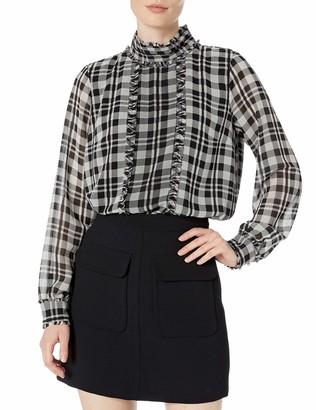 Karl Lagerfeld Paris Women's Long Sleeve Mock Neck Collar with Pleating