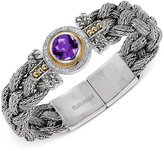 Effy Amethyst (3 ct. t.w.) and Diamond (1/5 ct. t.w.) Bracelet in Sterling Silver and 18k Gold