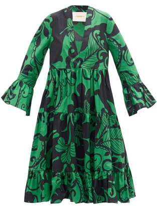 La DoubleJ Short Jennifer Jane Marea-print Cotton Dress - Green Print
