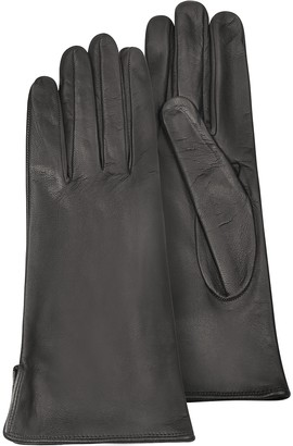 Forzieri Women's Black Calf Leather Gloves w/ Silk Lining