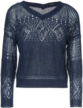 crochet V-neck sweater