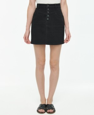 Vanilla Star Juniors' Button-Fly Denim Mini Skirt